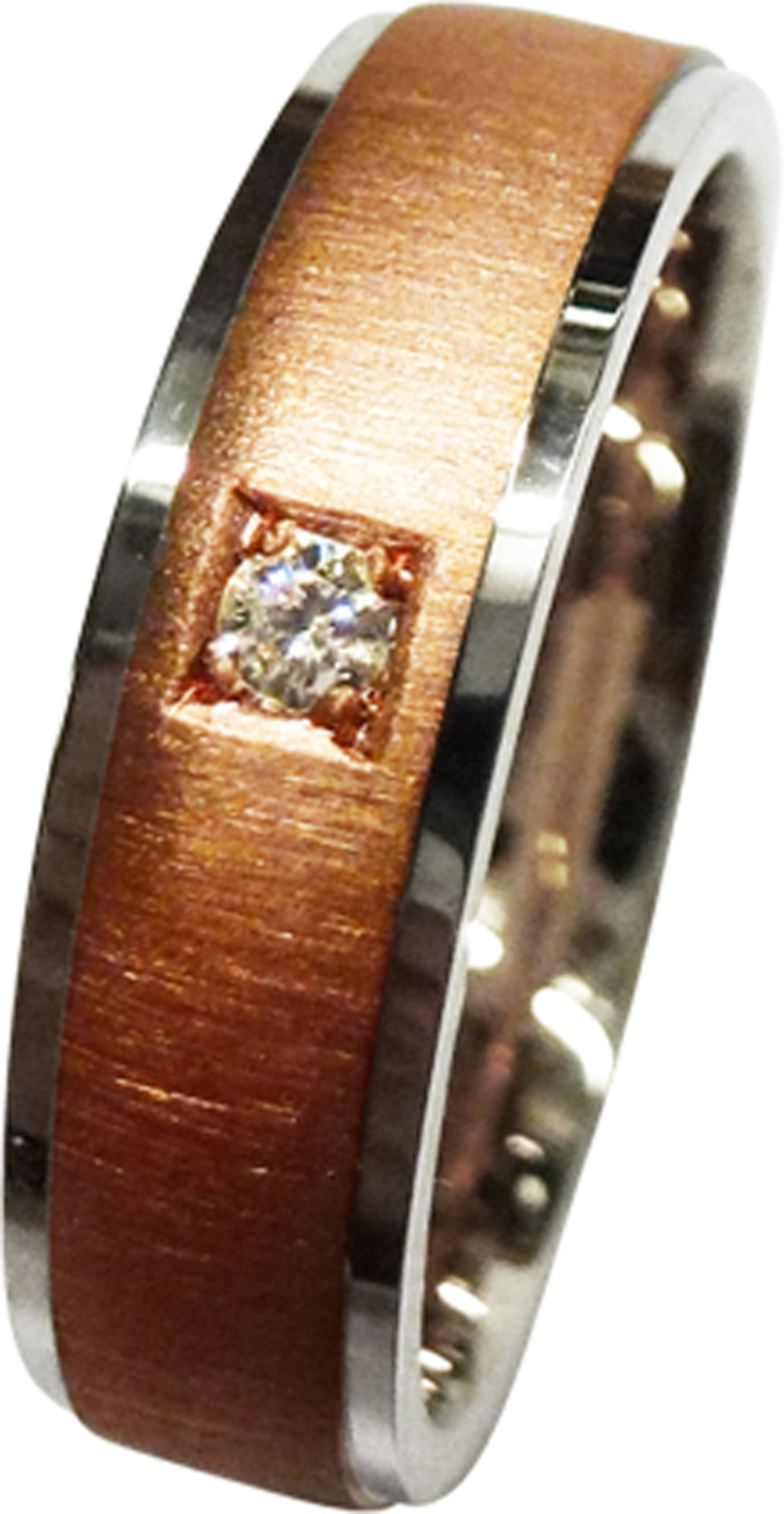 CH.ABRAMOWICZ Trauring/Ehering in Weissgold und Rotgold mit einem Brillant 100497500