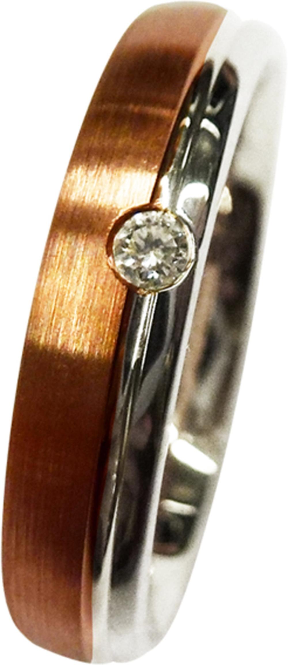 CH.ABRAMOWICZ Trauring/Ehering in Weissgold und Rotgold mit einem Brillant 100499300