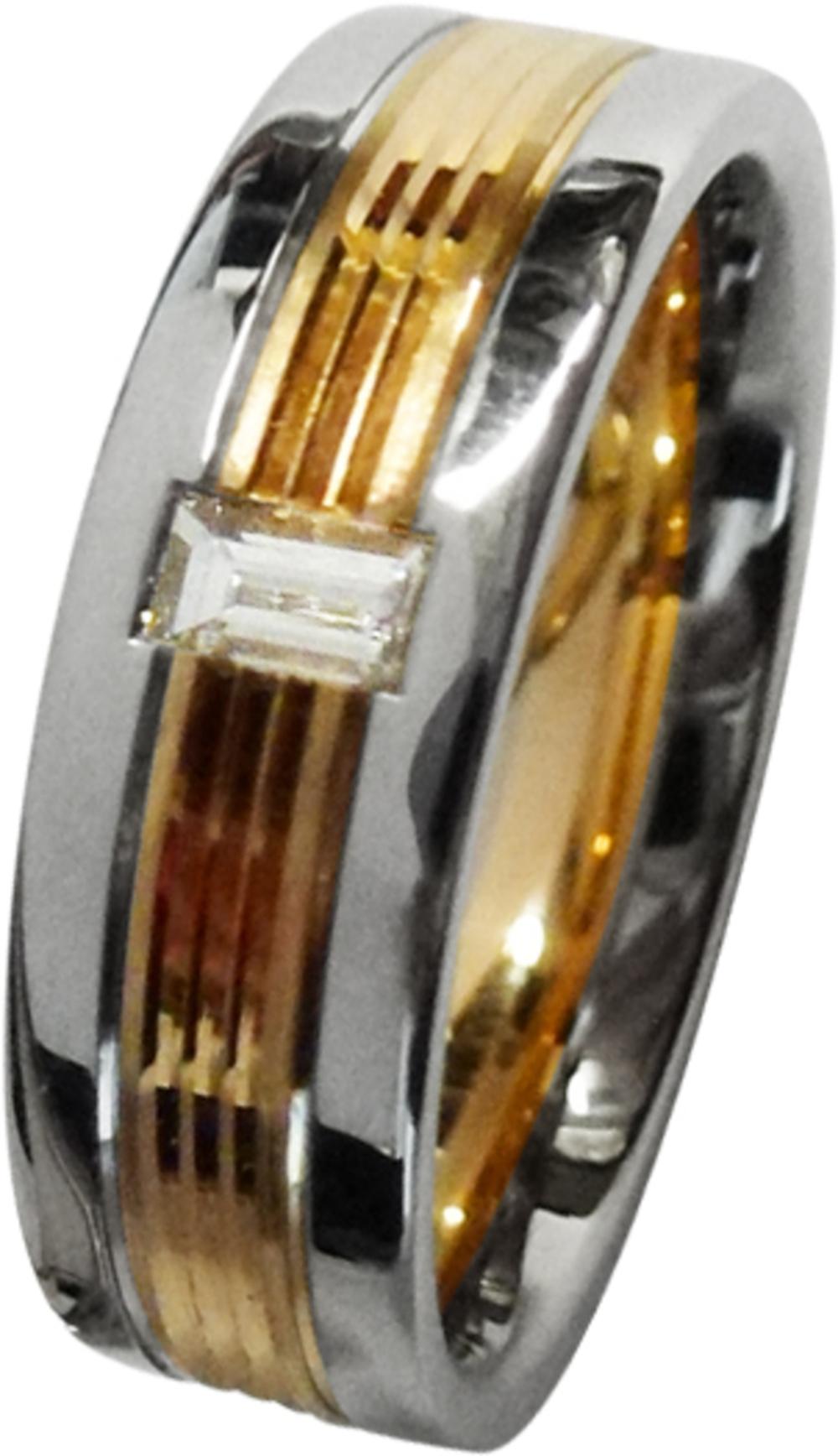 CH.ABRAMOWICZ Trauring/Ehering/Hochzeitring in Platin 600 und Rosegold 585/- mit einem Baguette Diamant 100515900