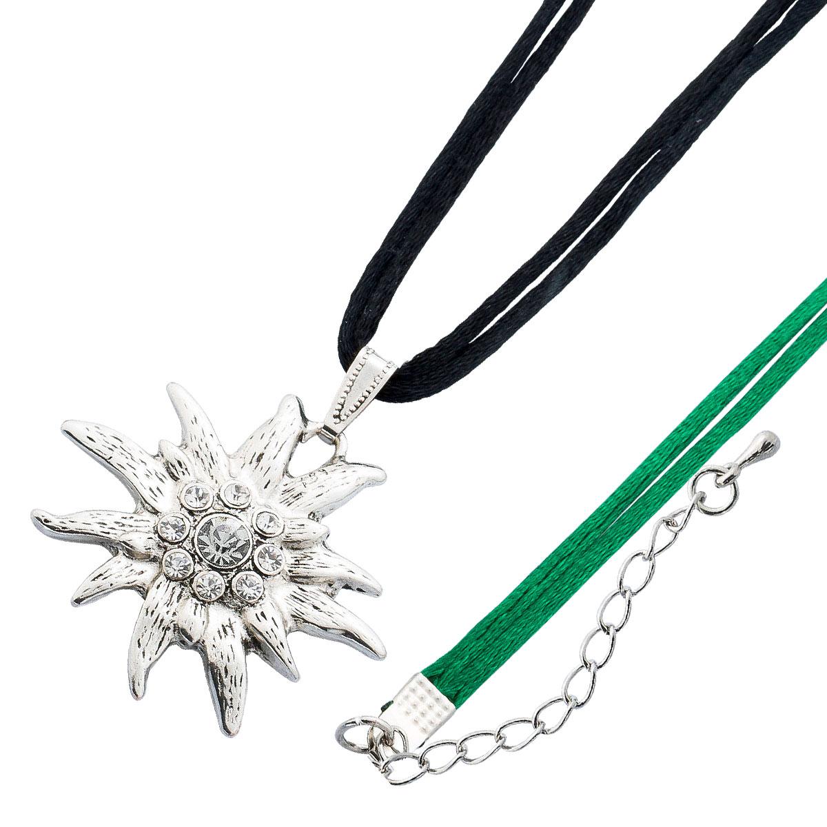 Crystal Blue Trachtenschmuck Trachtenkette Kette Edelweiss schwarz grün Dirndl Schmuck Kristalle 38 259067038