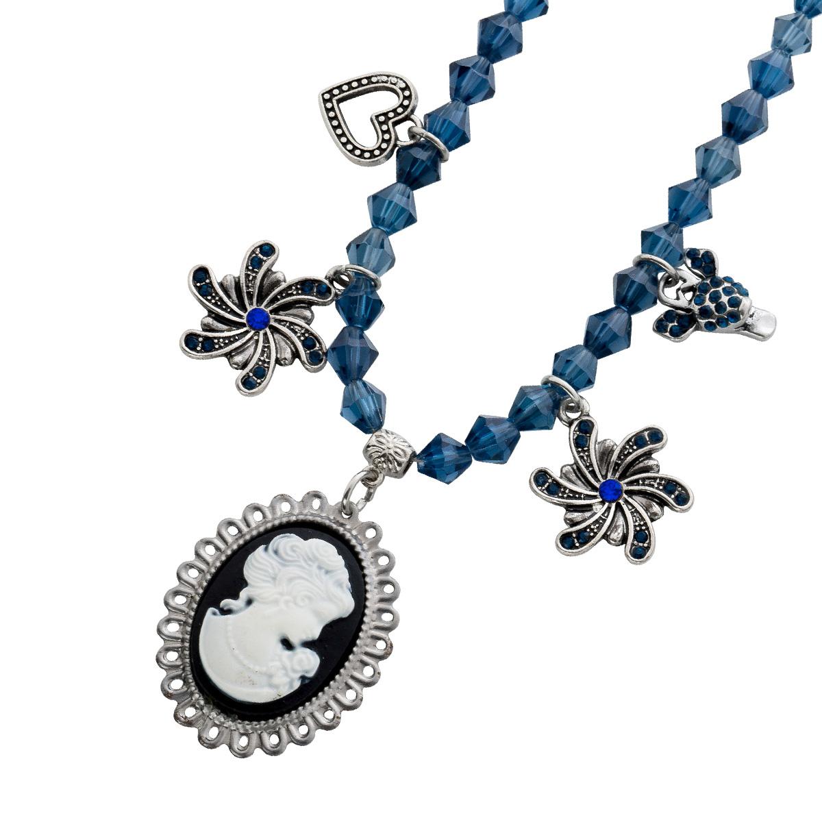 Trachtenschmuck Trachtenkette schwarz Blau Gemmen anhänger silber farbenes Metall Crystal Blue 38cm 38 259171038
