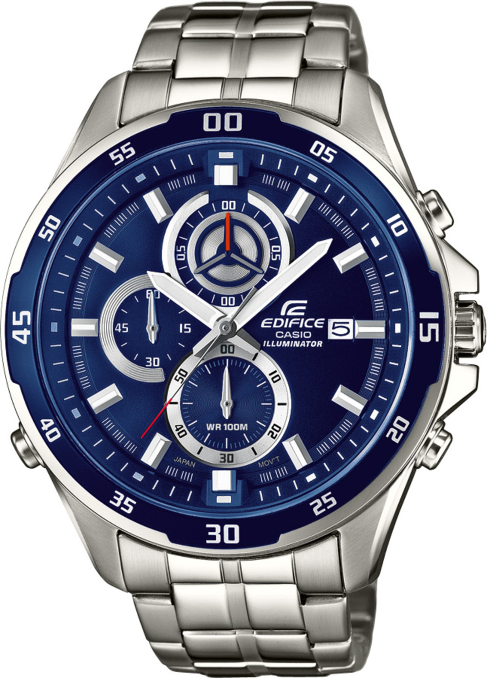 CASIO Herrenuhr Edifice EFR-547D-2AVUEF Edelstahl Chronograph blaues Zifferblatt Super Illuminator 367232000