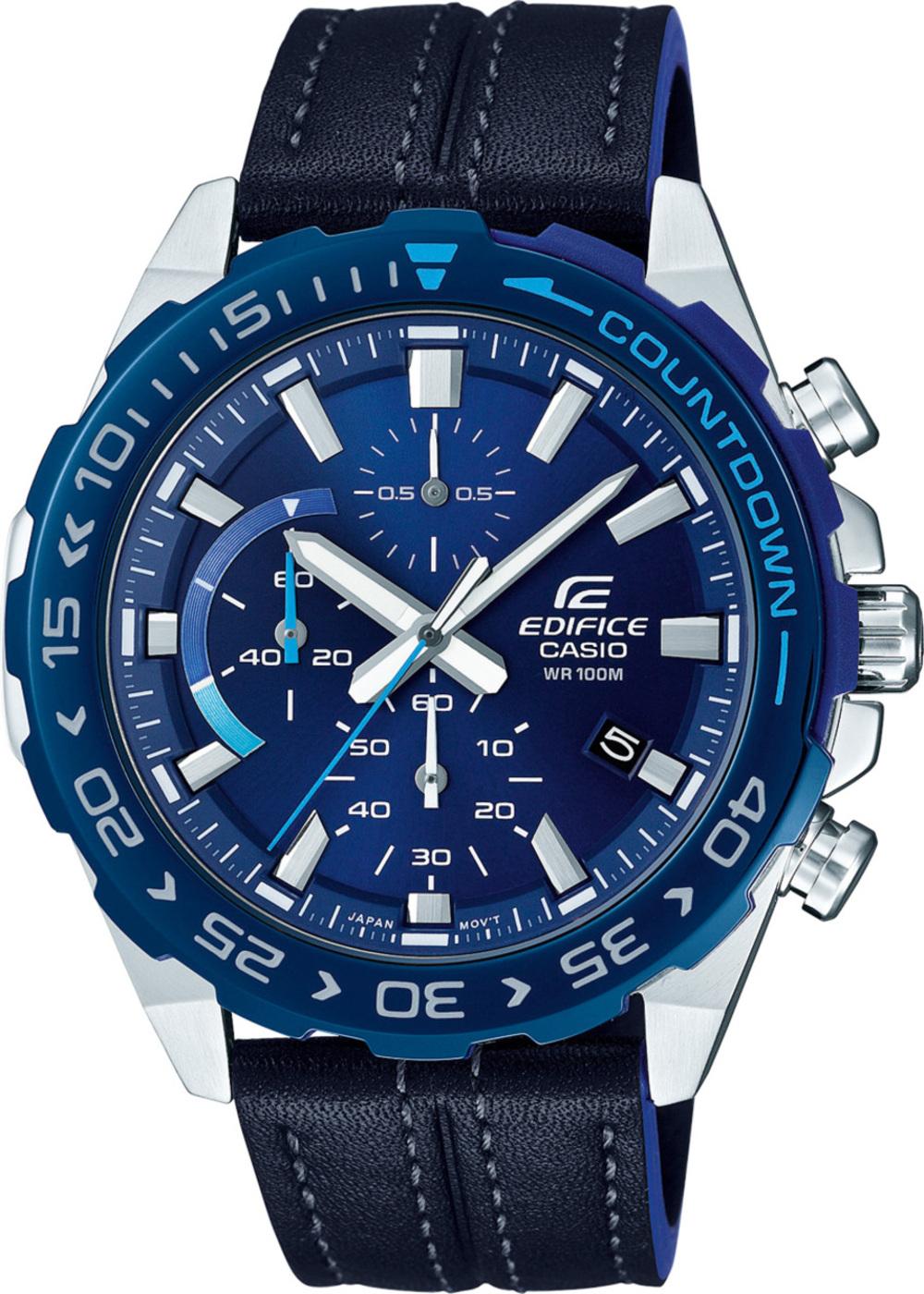 CASIO Herrenuhr EFR-566BL-2AVUEF schwarzes Lederarmband Chronograph blaues Zifferblatt Edifice 367233000