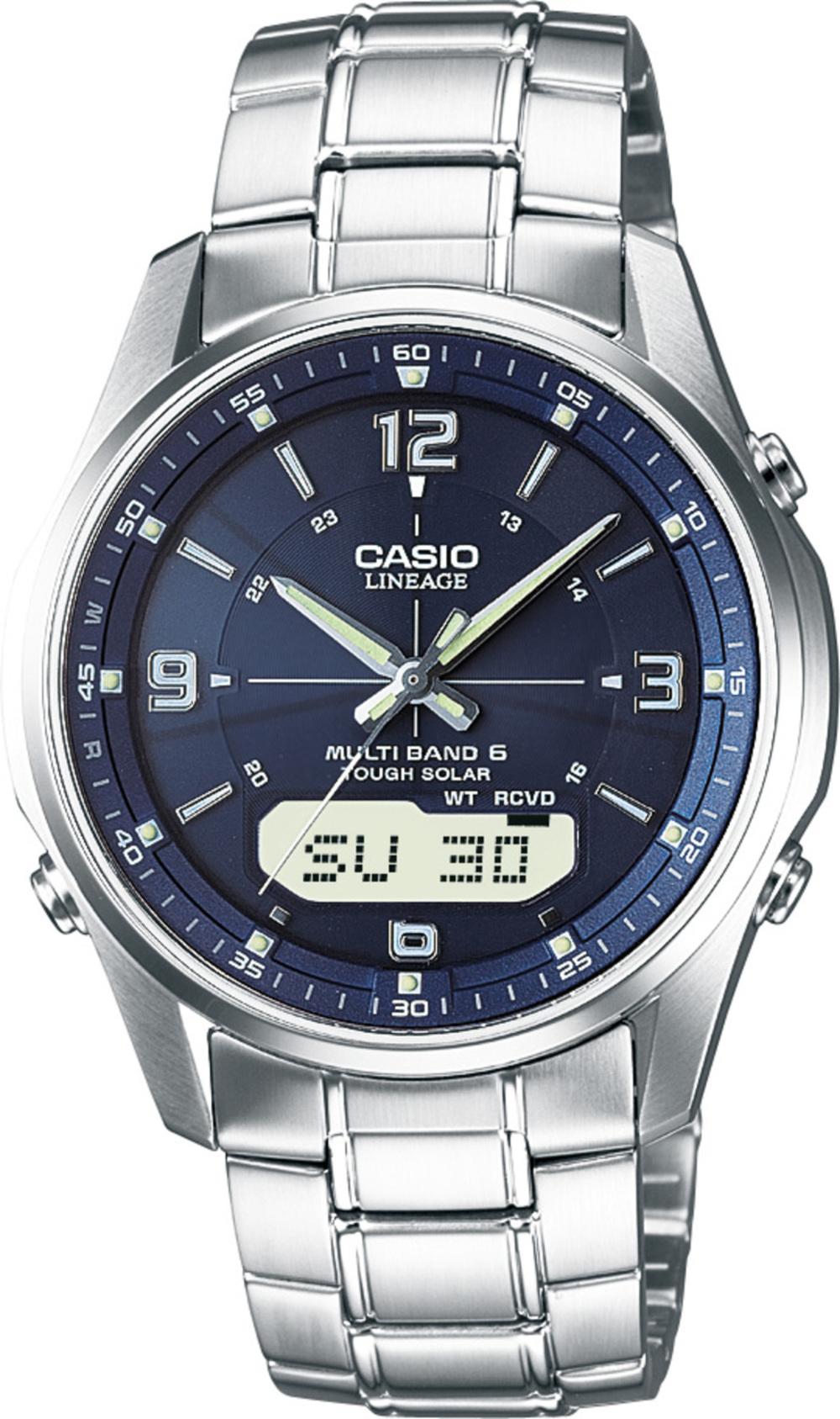CASIO Unisexuhr LCW-M100DSE-2AER Funk Solaruhr Edelstahl Saphirglas Analog Digital blaues Zifferblatt 367257000