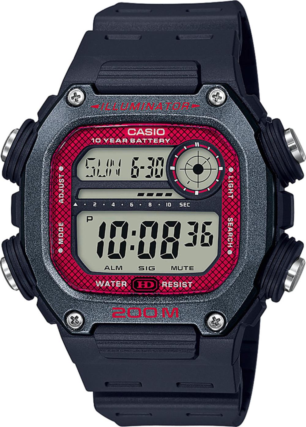 Casio Collection DW-291H-1BVEF Herren Uhr Quarz Schwarz Grau Rot Digital