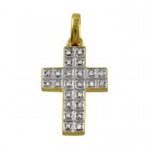 Kreuz Anhänger - Weißgold/ Gelbgold 585/-  24 Diamanten 0,12ct W/P _01