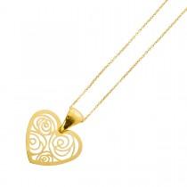 Herzkette Gelbgold 375 Ankerkette 42cm poliert Herz Rosenverzierungen