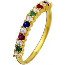Ring Gelbgold 333 Zirkonia Rubin Saphir Smaragd_070599_01