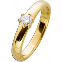 Diamantring Verlobungsring Solitär Gelbgold 585 - 1 Brillant 0,20ct TW / VSI Krappenfassung