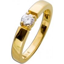 Verlobungsring Gelbgold 585 1 Diamant Brillantschliff 0,25ct TW / Lupenrein