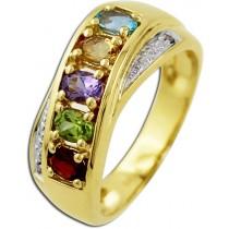 Edelsteinring - Goldring Gelbgold 585/- 2 Diamanten 0,01ct W/P Blautopas Citrin Amethyst Peridot Granat_01