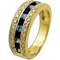 Saphirring - Goldring Gelbgold 585/- Blautopas 28 Diamanten 0,27ct W/P _01