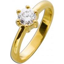 Solitär Ring Verlobungsring Gelbgold 585 1 Brillant 0,65ct TW / IF lupenrein
