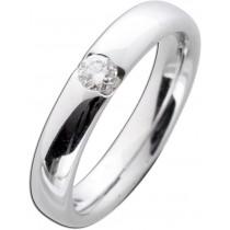Verlobungsring Weißgold 585 poliert - Brillant 0,15ct W/SI Verschnittfassung