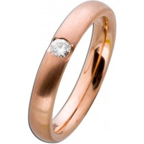 Mattierter Damenring Rotgold 585 - Diamant Brillantschliff  0,10ct W/SI