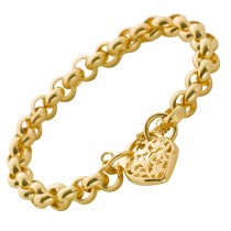 Armband Erbskette Gelbgold 375 Herzverschluss