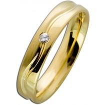 Trauring Gold 585 mit Brillant 0,03 Karat