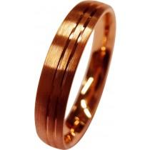 Trauring in Rotgold 333/- mit 2 feinen polierten Fugen, der Ring an sich ist längsmattiert, mit angenehmer Bombierung für den Tragecomfort, 4 x 1,6 mm (Default)