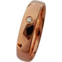 feiner Trauring in Rotgold,hochglanzpoliert, mit einemeingeriebenen 0,02ct BrillW/SI2, 4x1,3mm, leichte Bombierung, für angenehmesTragen (Default)
