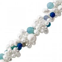 Perlenkette - Perlen Perlencollier Silber mit Süsswasserzuchtperlen und blauem Achat, 42+5cm