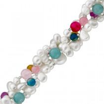 Perlenkette - Perlen Perlencollier Silber 925, Süsswasserzuchtperlen mit buntem Achat, 42+5cm