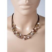 Perlenkette - Lederbandarmband/Perlencollier, Länge19+5cm/42+5cm. Braunes 5-reihiges Lederband mit bunten Suesswasserzuchtperlen und einem stabilem Karabinerverschluss aus Silber Sterlingsilber 925/-. Ein wahrer Traum von bunten Süßwasserzuchtperlen, Durc