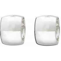 Ohrringe - Ohrschmuck in echtem Silber Sterlingsilber 925/-. Klappcreolen mit sicherem Scharnierverschluss. Maße: 13,5 x 8 mm. Die Oberfläche ist poliert und rhodiniert. Die Preissensation aus Stuttgart. Die Nr. 1 für Gold, Silber und Edelsteine.  Besuche