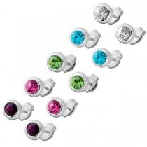 Ohrringe - Ohrsteckerset 5 Paar synthetischen Steinen rhodiniert