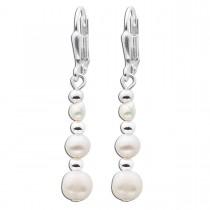 Ohrringe - Langer Perlen Ohrhänger Silber 6 Perlen - Süßwasserzuchtperlen