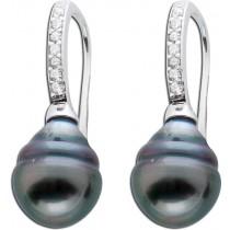 Ohrringe - Ohrhänger 925 Sterling Silber 2 Tahitizuchtperlen Zirkonia