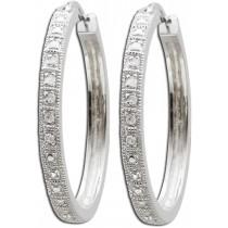 Ohrringe - Creolen aus rhodiniertem Silber Sterlingsilber poliert mit 12 Diamanten  267177100