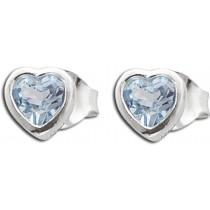 Ohrringe - Ohrstecker Sterling Silber 925 Herzform mit Blautopas_01