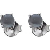 Ohrringe Ohrstecker Sterling Silber 925 rhodiniert schwarzer Mondstein Ø 5mm_267812