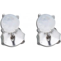 Ohrringe Ohrstecker Sterling Silber 925 rhodiniert regenbogenfarbener Mondstein Ø 5mm_267814