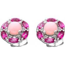 Ohrringe - Ohrstecker Sterling Silber 925 rosa Opale pinke Topase weiße Topase