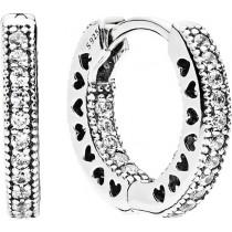 Ohrringe - Pandora Kreolen 296317CZ Sterling Silber 925 Unendliche Herzen Kreolen klare Cubic Zirkonia
