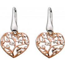 Ohrhänger Herz Silber 925 teils rose vergoldet 30x15mm