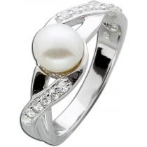 Ring Sterling Silber 925 Süßwasserzuchtperle Zirkonia