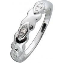 Ring Sterling Silber 925 poliert 3 Diamanten