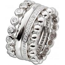 Ring Set 4-teilig Sterling Silber 925 Zirkonia Designer Ring Set_1