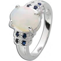 Opalring Sterling Silber 925 ethiopischen Opal schwarzen Saphiren