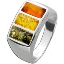 Ring Silber 925 mit Bernsteine verschiedene Farben, 16-20mm