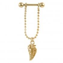 Piercing Barbell Stab 1,2x6mm Federanhänger Helix Ohr Chirurgenstahl PVD gold
