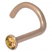 Piercing Chirurgenstahl PVD rose hautverträglicher Nasenstecker 1mm Stärke Swarovski Kristall champagner