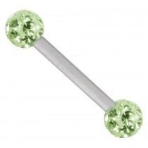 Piercing Barbell Titan 1,6mm Stärke Kugel 4mm hellgrün