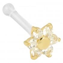 Nasenpiercing 750 Gelbgold Kunststoffsteg 0,8mm Stärke 5 klare Zirkonia Blumen Optik