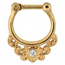 Piercing Septum Chirurgenstahl 316L PVD Gold Klicker 10mm klarer Kristall