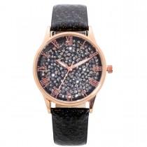 Uhr - Damenuhr schwarz Kristalle Quarz Crystal Blue