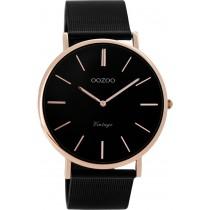 OOZOO Damenuhr C8869 schwarzes Mesh Armband Edelstahlgehäuse rose vergoldet Ø 40mm Durchmesser