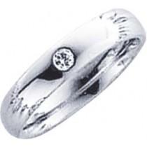 Trauring in Weißgold 585/-, Brillant 0,05 ct W/SI, Breite 4,0mm, Stärke 1,7mm, der Ring ist hochglanz poliert, die Gravur der Trauringe sowie das Etui erhalten Sie kostenlos und bei diesen einfarbigen Trauringen - Eheringen ist auch der kostenlos